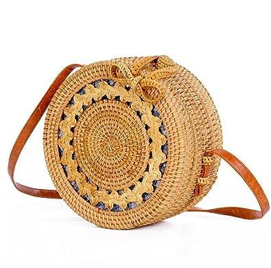 Amazon.com: Redondo paja bolsa bolsos mujer verano ratán ...