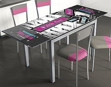 Mesa extensible para cocina de cristal con serigrafía 5ª Avenida ...