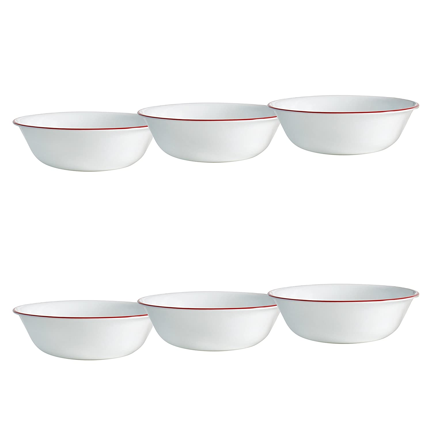 Corelle Livingware 6-Piece Ruby Red Bowls Set, 18-Ounce, White