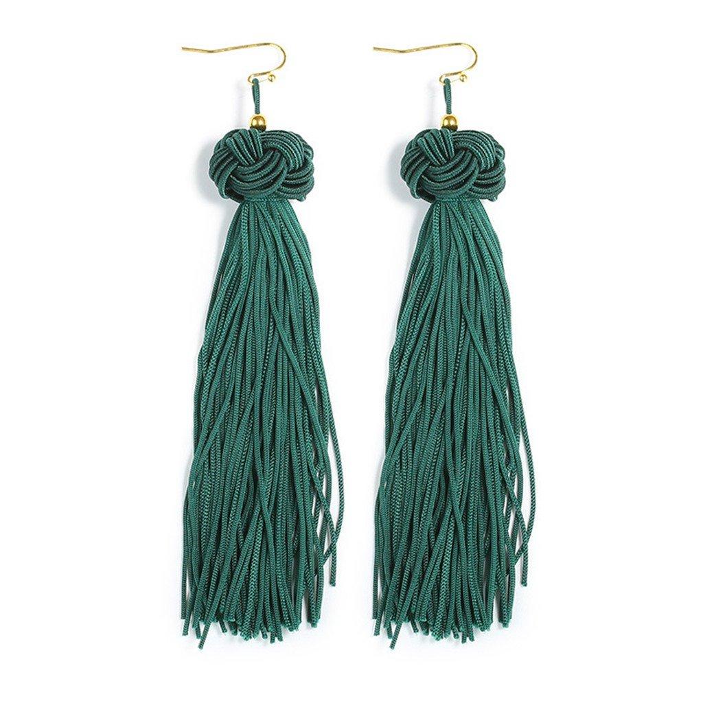 ROWAG Long Tassel Dangle Earrings for Women Bohemian Statement Ethnic Fringe Thread Ear Drop Earrings Wang Rong TasselEarrings38