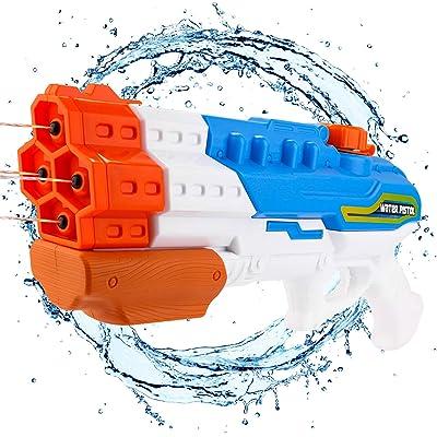 balnore Pistola de Agua 4 boquillas, 1200ml Pistola de Chorro de Agua para Niños Adultos para Al Aire Libre Nadando Piscina Jardín Playa, Verano Juguetes de Agua Juego