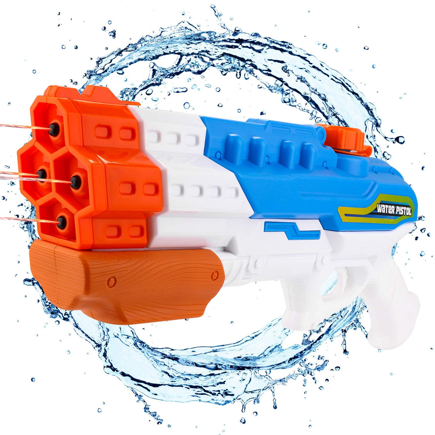 Balnore Water Gun Soaker 4 Nozzles Water Blaster High Capacity 1200CC Squirt Gun 30ft Water Pistol Water Fight Summer Toys Outdoor Swimming Pool Beach Water Toys for Kid&Adult by Balnore