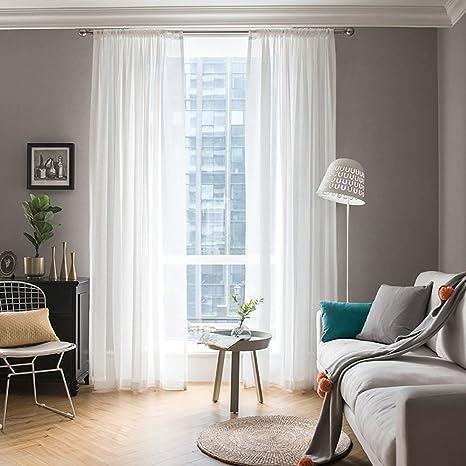 MIULEE Cortinas Poliéster Translucida de Dormitorio Moderno Ventana  Visillos Salon para Sala Cuarto Dormitorio Comedor Salon Cocina Salón de  Blanco 2 ...
