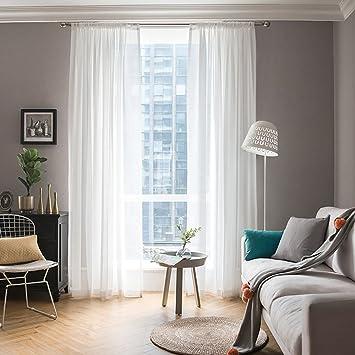 MIULEE Cortinas Poliéster Translucida de Dormitorio Moderno Ventana ...