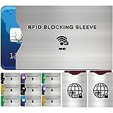Set da 12 Custodie Blocco RFID - Set Custodie Decorate La Protezione di Carte di Credito e di Identità, Ideali per Portafogli / Passaporto – Isolamento chip Contactless RFID e Radio NFC - Alluminio