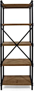 Christopher Knight Home Lina Industrial Iron Five Shelf Bookcase, Black and Antique Brown Finish