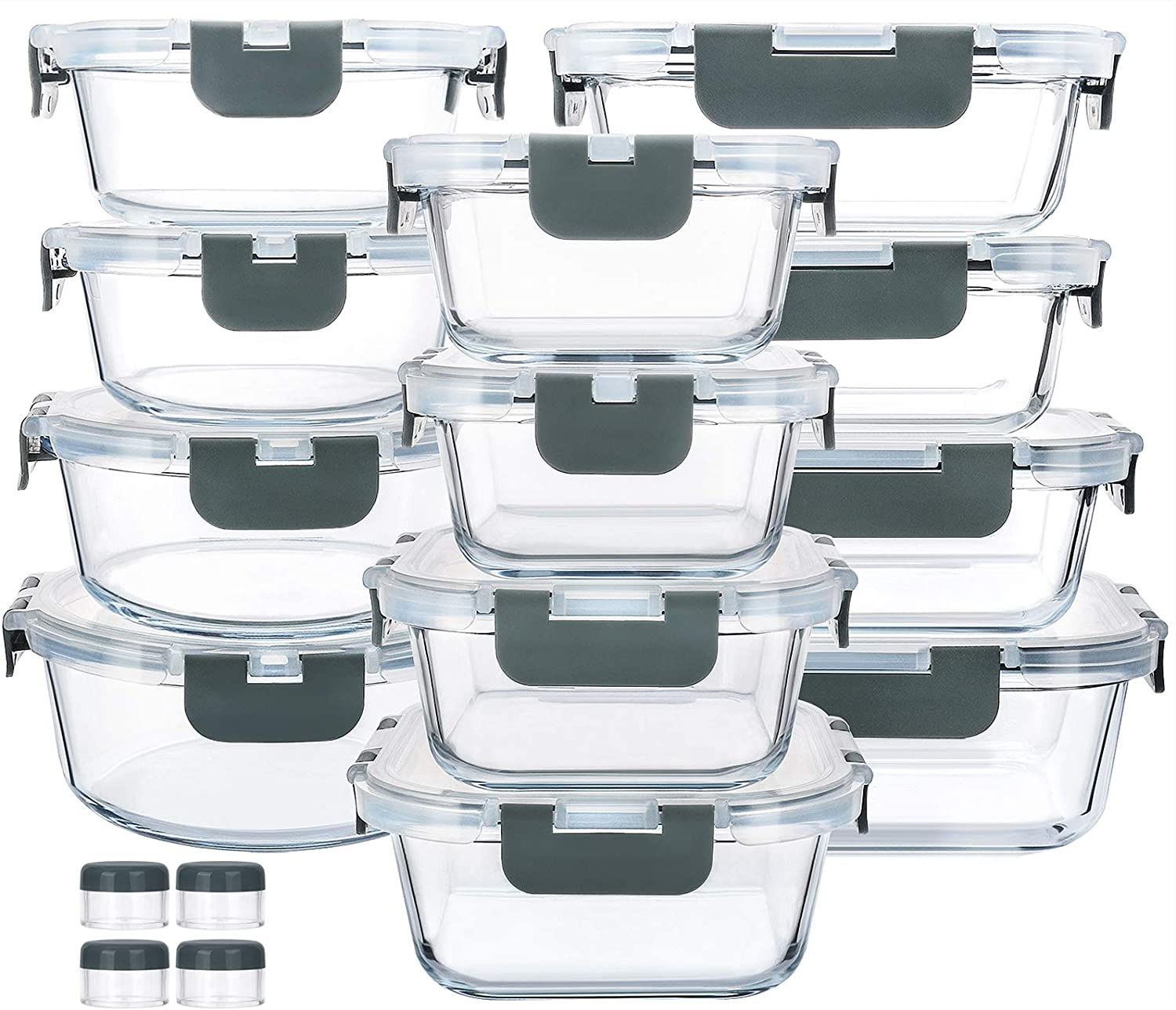 12-Piece Glass Food Storage Containers with Upgraded Snap Locking Lids,Glass Meal Prep Containers Set - Airtight Lunch Containers, Microwave, Oven, Freezer and Dishwasher
