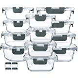 24 Pieces Glass Food Storage Containers with Upgraded Snap Locking Lids,Glass Meal Prep Containers Set - Airtight Lunch Conta