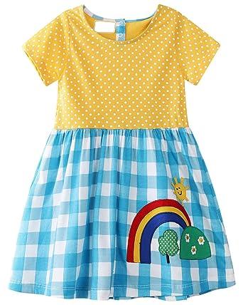 bab73b8de GSVIBK Kid Cotton Dress Girls Cute Cartoon Dress Baby Casual Dress Toddler Short  Sleeve Cartoon Dress