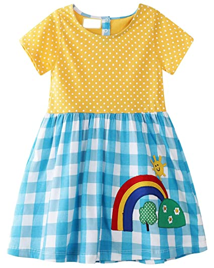36290eb7339b0 GSVIBK Kid Girl Cotton Dresses Baby Casual Dress Girls Cute Cartoon Dress  Toddler Dinosaur Dress