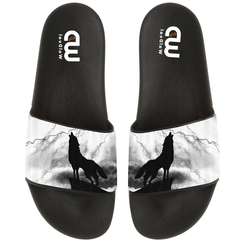 Wolf Silhouette Howl Thunderstorm Summer Slide Slippers For Men Women Outdoor Beach Sandal Shoes size 15