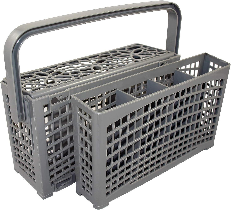 La cesta de cubiertos original 2 en 1 universal para todos los lavavajillas conexión estable divisible de 23 x 8,5 + 4,5 x 13,5 cm plástico reforzado resistente al calor.