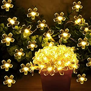 Flower String Lights, Christmas String Lights,Sakura Lights, 33ft 100LED Indoor and Outdoor Decorative String Lights,Fairy Twinkle Lights for Garden, Patio, Christmas Tree, Party, Bedroom(Warm White)