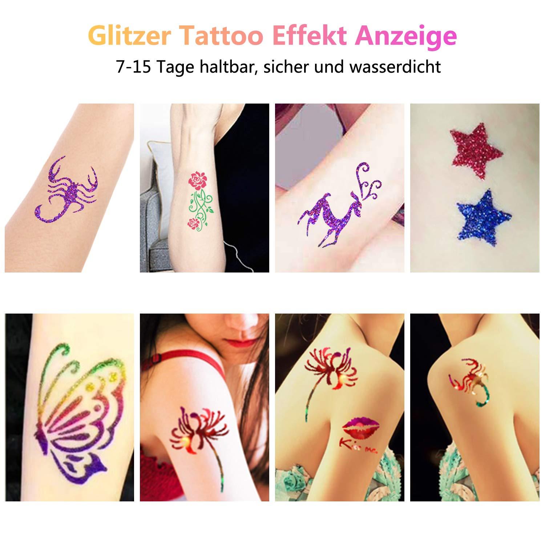 Juego de tatuajes con purpurina, 24 colores y 160 plantillas ...