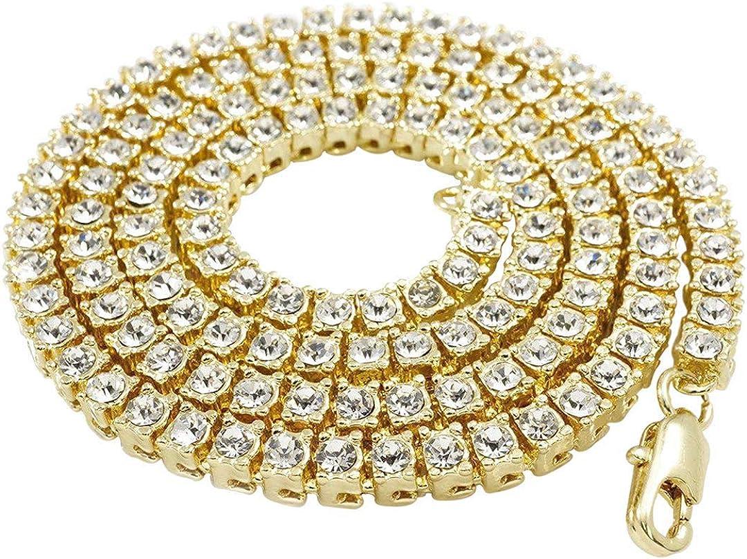 "2mm 10CT Black Diamond Men/'s Tennis Necklace in 14K Yellow Gold Over 20/"""