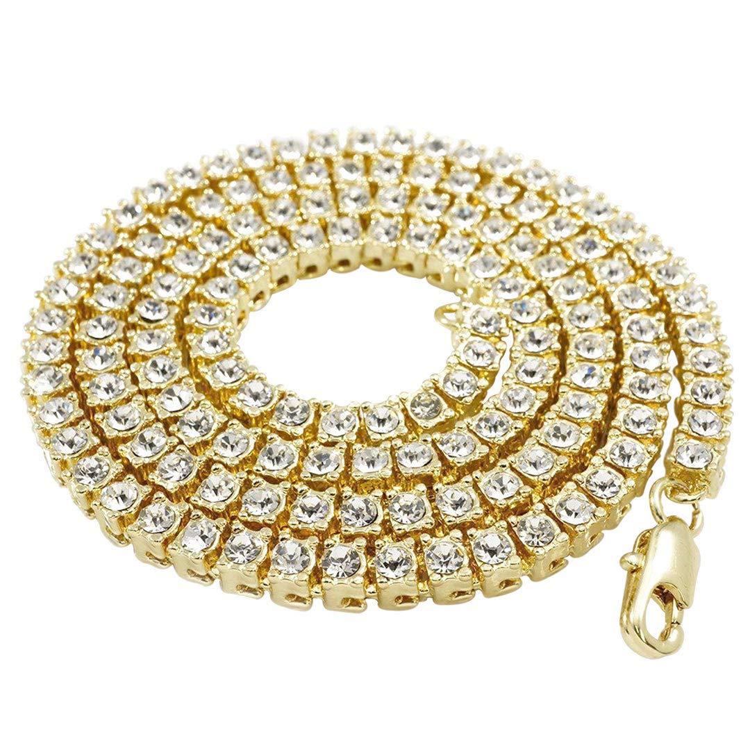 14K Gold Plated Iced Tennis Chain Gold//Silver//Black//Canary NIVS BLING Mens Hip Hop Necklace -