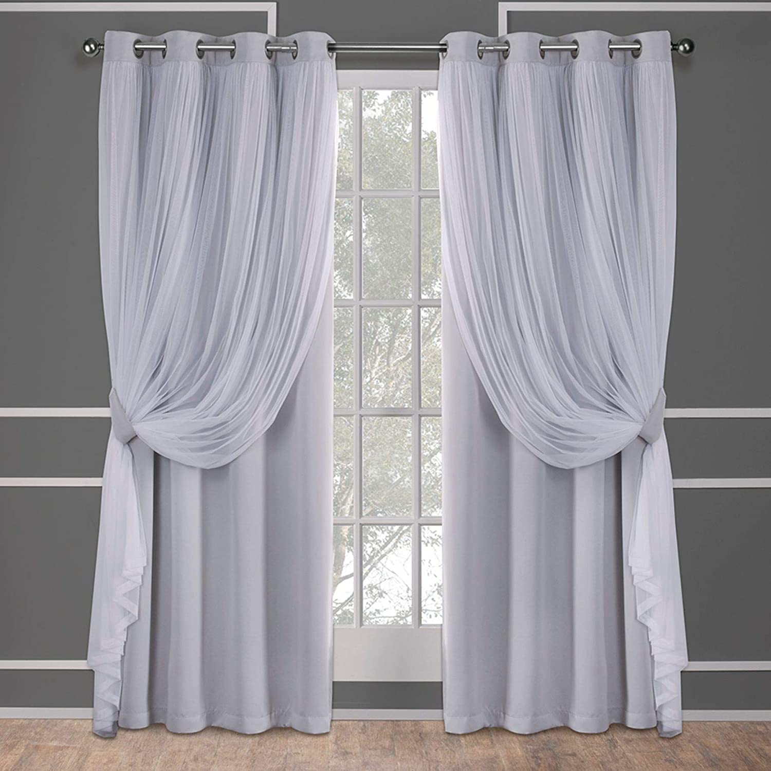 Exclusive Home Catarina Layered Solid Blackout And Sheer Grommet Top Curtain Panel Pair Cloud Grey 52x96 2 Piece Amazon Ca Home Kitchen
