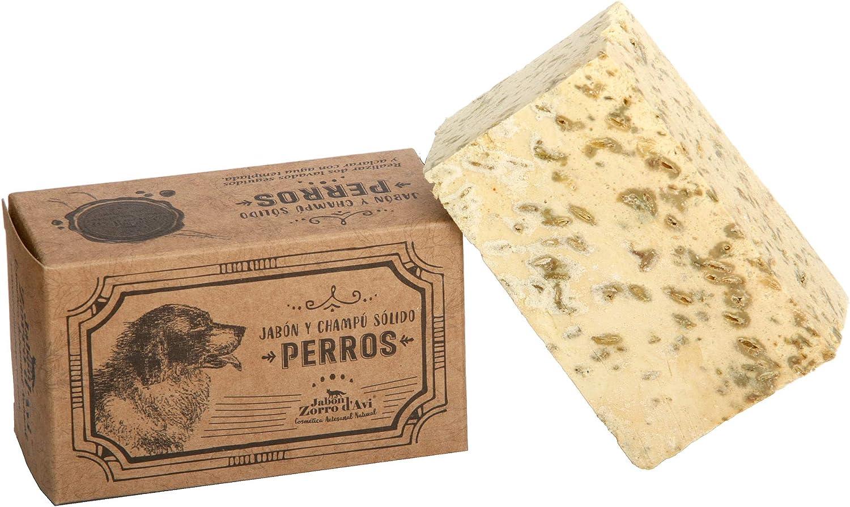 Jabón Zorro D'AVI | Champú Sólido Natural y Ecológico para Perros | 120 gr | Jabón Sólido para Perros | Antiséptico y Repelente | Fabricado en España