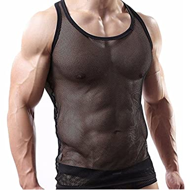 4a49449c156c YiZYiF Herren Unterhemd aus Netz Transparent Unterwäsche Stretch Ringer T-Shirt  Tank Top Achselshirt Clubwear M-XL  Amazon.de  Bekleidung
