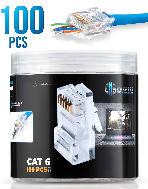 RJ45 Cat6 Pass Through Connectors 100 pcs | EZ Crimp Connector UTP Network Plug for Unshielded Twisted Pair Solid Wire & Standard Cables | Transparent Passthrough Ethernet Insert by Everest Media Solutions