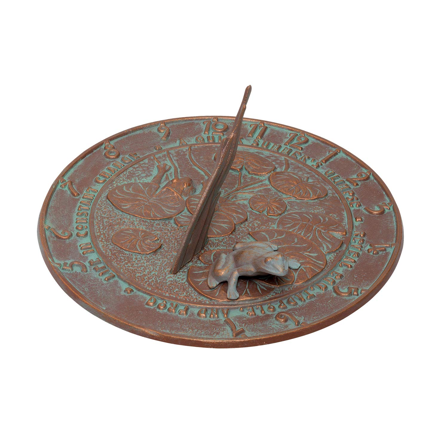 Whitehall Products Frog Sundial, Copper Verdi by Whitehall