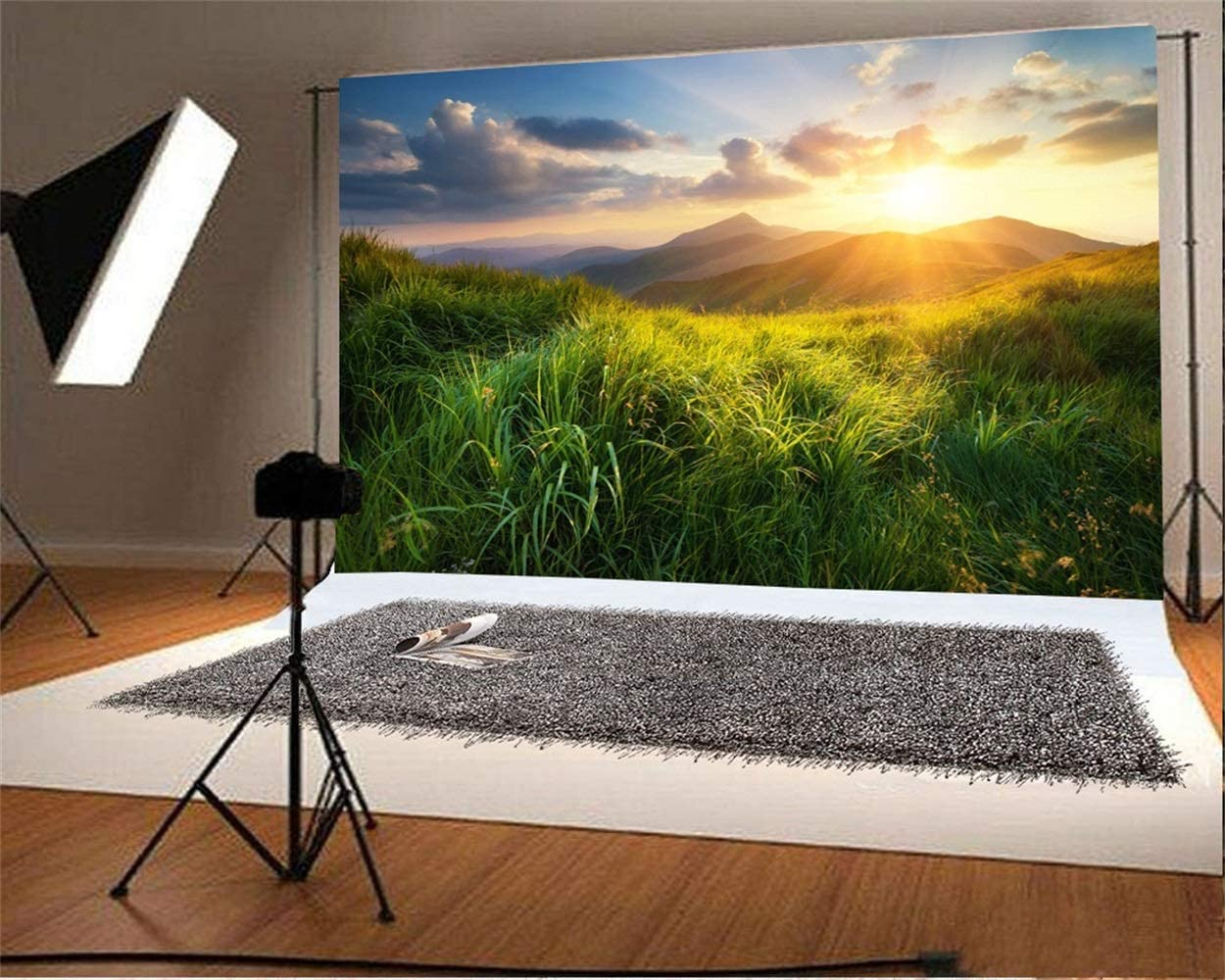 7x5ft Dusk Prairie Scenic Backdrop Polyester Tranquil Green Grassland Remote Mountains Sunset Glow Rose Cloud Photography Background Baby 1st Birthday Party Banner Child Baby Portrait Shoot