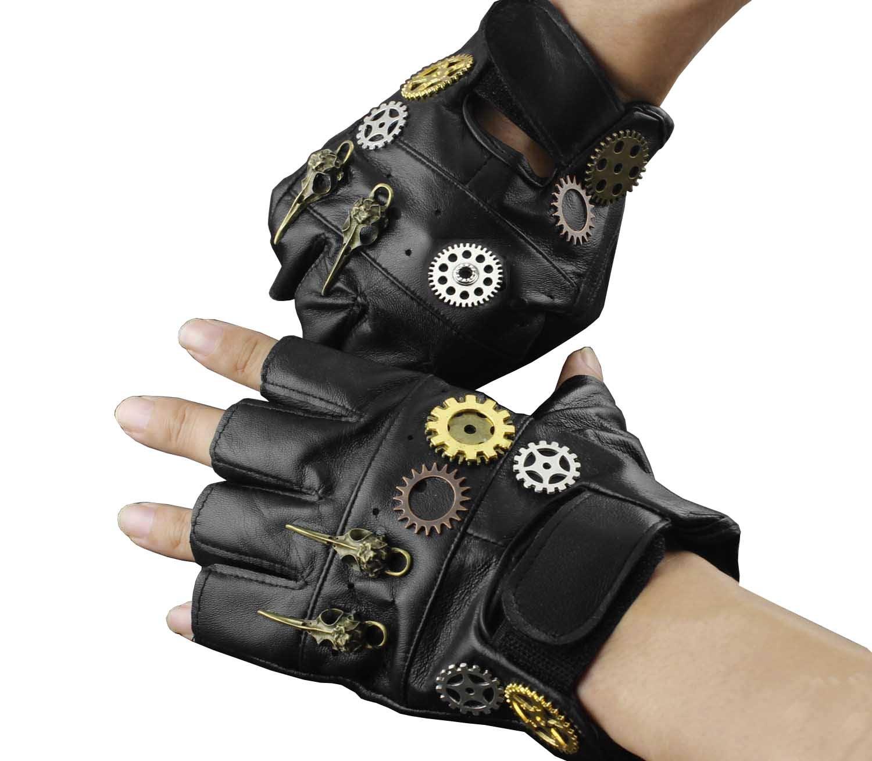 Steampunk Gothic Mens Vintage Geuuine Leather Fingerless Gloves xtom2013