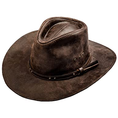 0d77ec39 Sterkowski Cattle Leather Classic Western Cowboy Outback Hat US 6 7/8 Dark  Brown