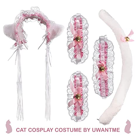 47924e713 Image Unavailable. Image not available for. Color: UWANTME Cat Cosplay  Costume Anime Maid Lolita Lace Ears Headband Collar Bracelet Kitten Tail Set  …