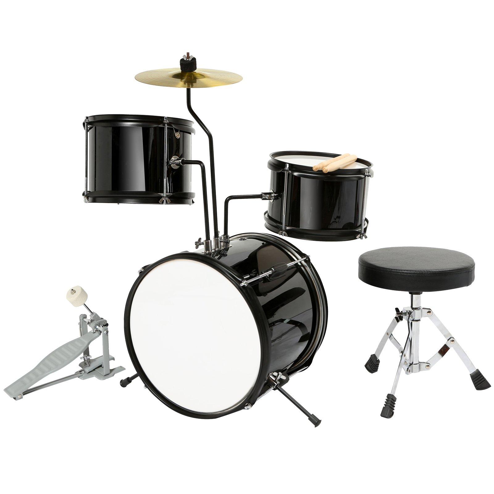 LAGRIMA Drum Set-12'' 3 Piece Complete Junior Drum Set Cymbals with Stand,Hi-Hat,Drum Stool,Drum Sticks for Girl Boy Kids (3-8 Years Old), Black