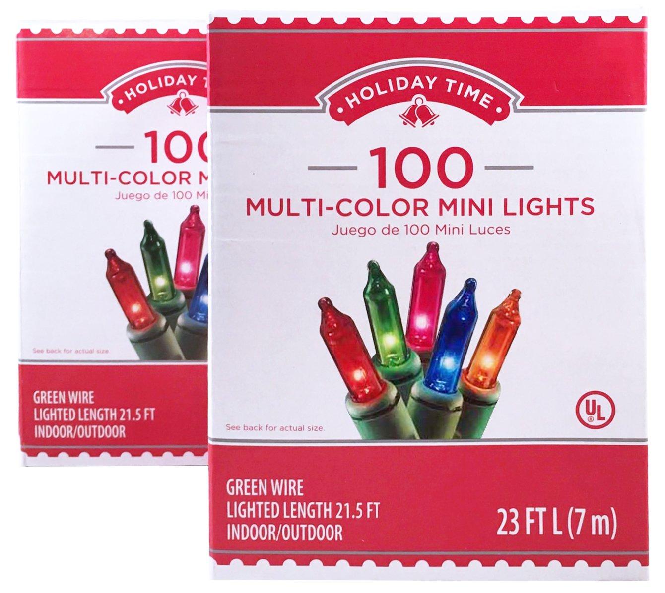 Amazon.com : Holiday Time 100 Multi-Color Mini Lights - Green Wire ...