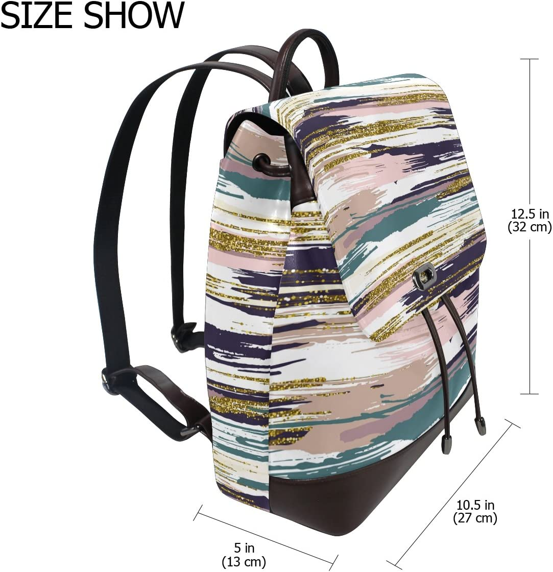 KUWT Shining Abstract Art PU Leather Backpack Photo Custom Shoulder Bag School College Book Bag Rucksack Casual Daypacks Diaper Bag for Women and Girl