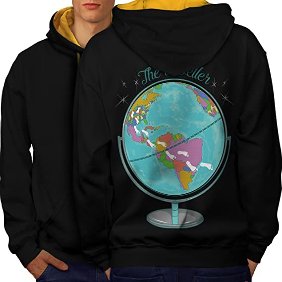 Wellcoda globe traveller world map men s 2xl contrast hoodie back wellcoda globe traveller world map men contrast hoodie back gumiabroncs Images