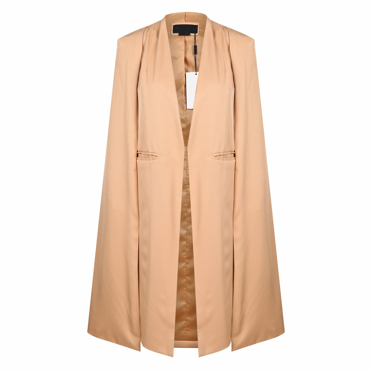Irisie Women Structured Lapel Split Trench Longline Cape Blazer
