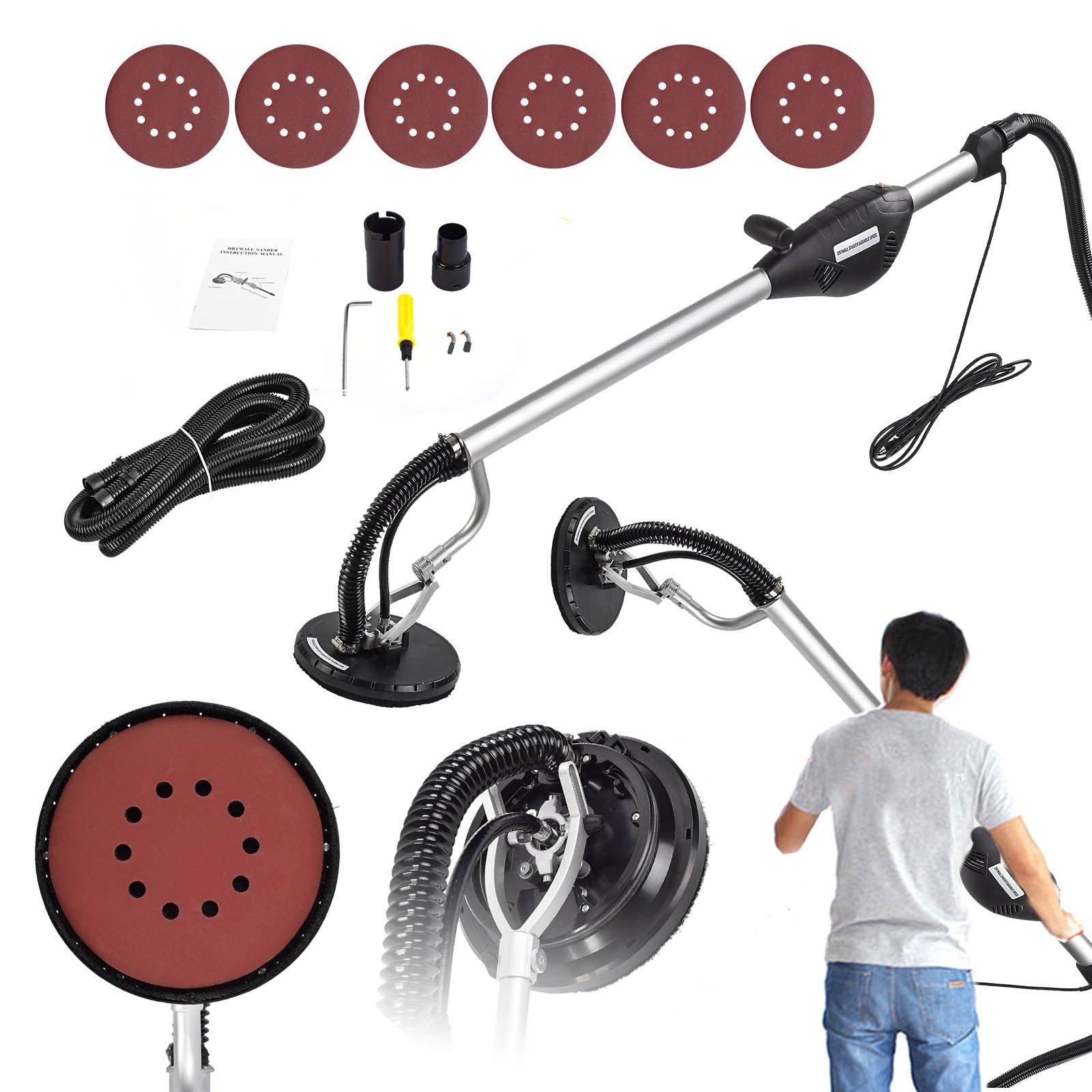 SUNCOO Commerical Drywall Sander Electric Disc Sanding Pole 6 Speed, 6 Sanding Discs 800W Black
