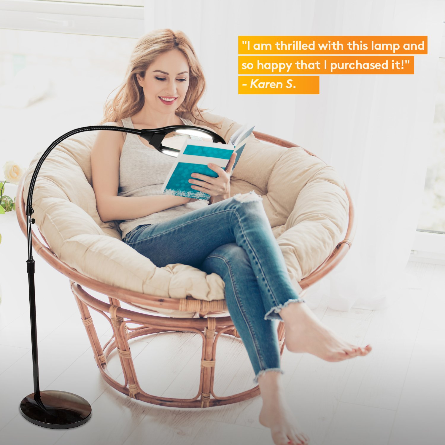 Brightech LightView Pro LED Magnifying Glass Floor Lamp - Magnifier With Bright Light For Reading, Tasks & Crafts - Height Adjustable Gooseneck Standing Lighting - Black by Brightech (Image #2)