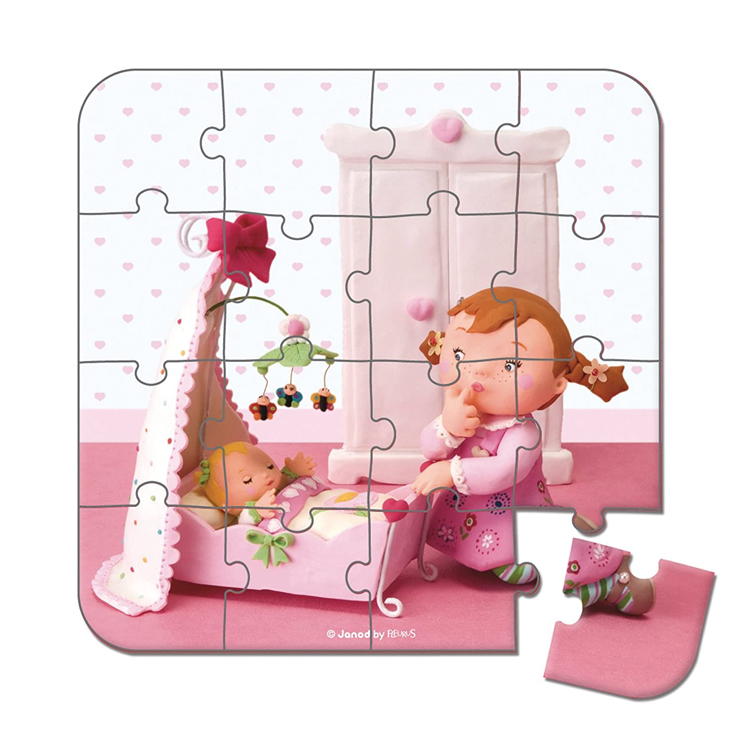 Janod 4-in-1 Lilou Plays Puzzle with Dolls