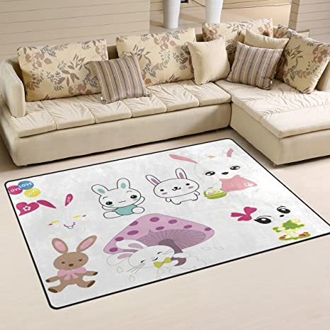 Amazon Com Thunana Lovely Rabbits Soft Indoor Outdoor Area Rug Rugs