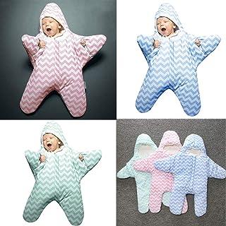 Yuyoug Wrap coperta–Sacco nanna Swaddle adorabile Cartoon Starfish cute neonato Baby Boy Girl leggero portatile caldo strisce Swaddle muslin Wrap per 12–24mesi, Cotone e lino, Green, taglia unica