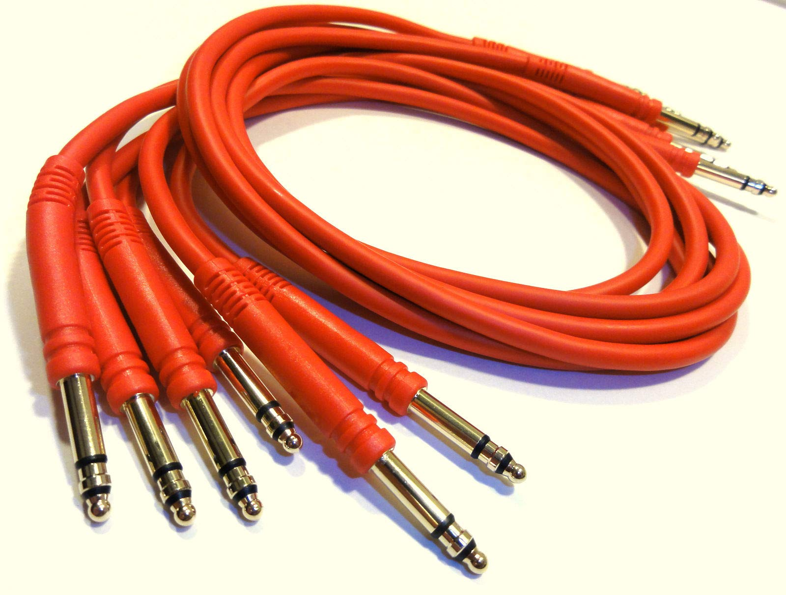 JDS Audio 6 TT Bantam 2 Foot Patch Cables - Red Quad Core Gold Plated 24''