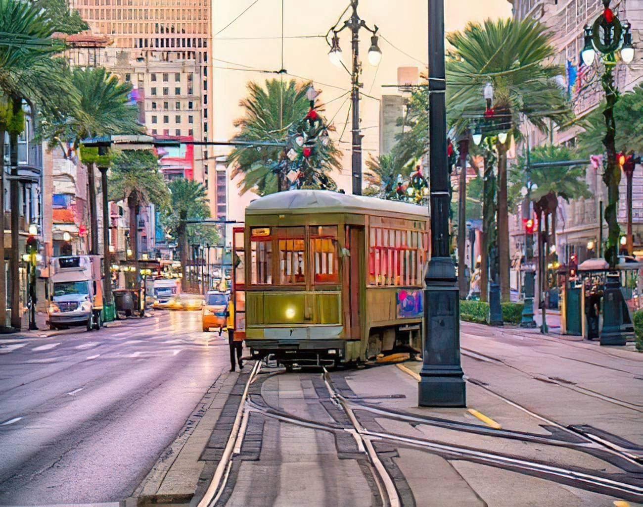 Aluffay USA Downtown Diamond Painting Kits, Streetcar in Downtown New Orleans USA at Twilight, 5D DIY Full Drill Diamond Art Set for Home Wall Decor Adults and Kids 12 x 16 inch
