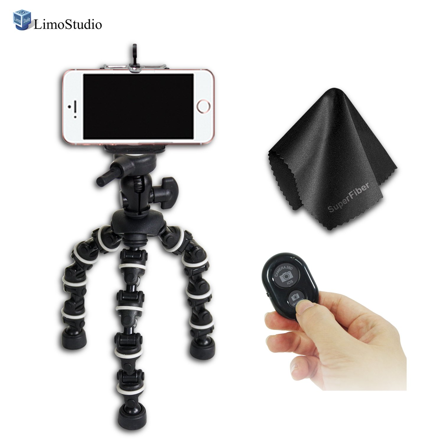 """LimoStudio 7.5"""" Adjustable Flexible Transformation Tripod for DSLR Cameras and Cell Phones with Spring Clip Holder, Bluetooth Remote Control Shutter, and Super Fiber Lens Cleaning Cloth, AGG2678 by LimoStudio"""