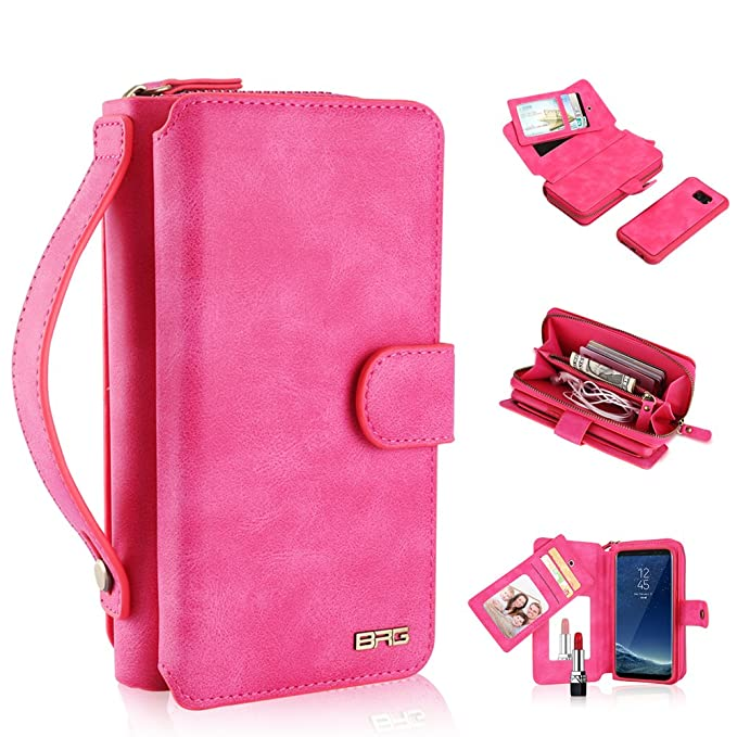 official photos 55879 c08e5 Galaxy S7 Wallet Case, 2 in 1 [Magnetic Detachable] Flip PU Leather  [Mirror] Case Zipper Purse Folio Removable Protective Slim Cover Clutch  with [11 ...