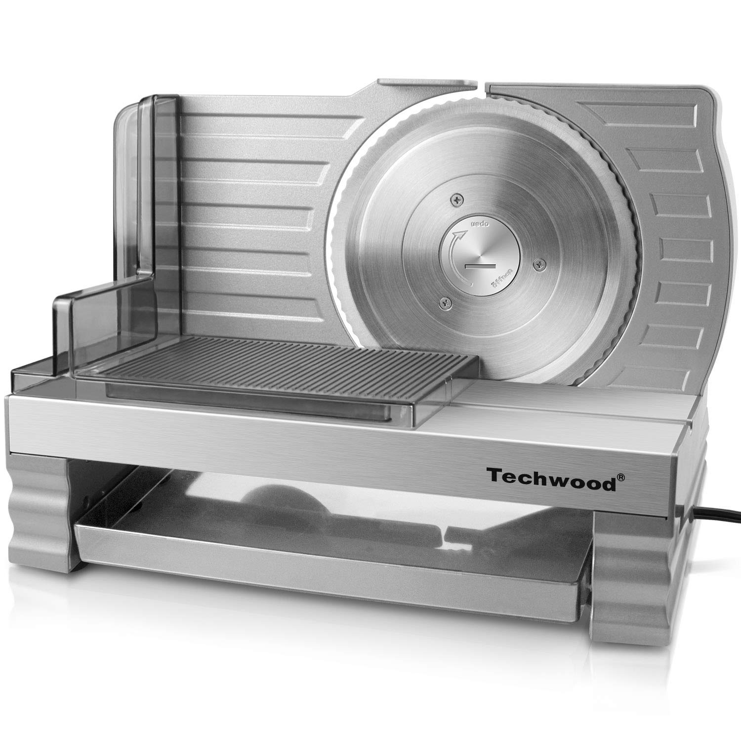 Techwood Meat Slicer Electric Deli Food Slicer Cheese Bread Fruit Cutter 6.7'' Removable Blade, Aluminum Alloy Track Platform, Adjustable Knob for Thickness, Food Tray& Pusher, Commercial& Home Use by Techwood