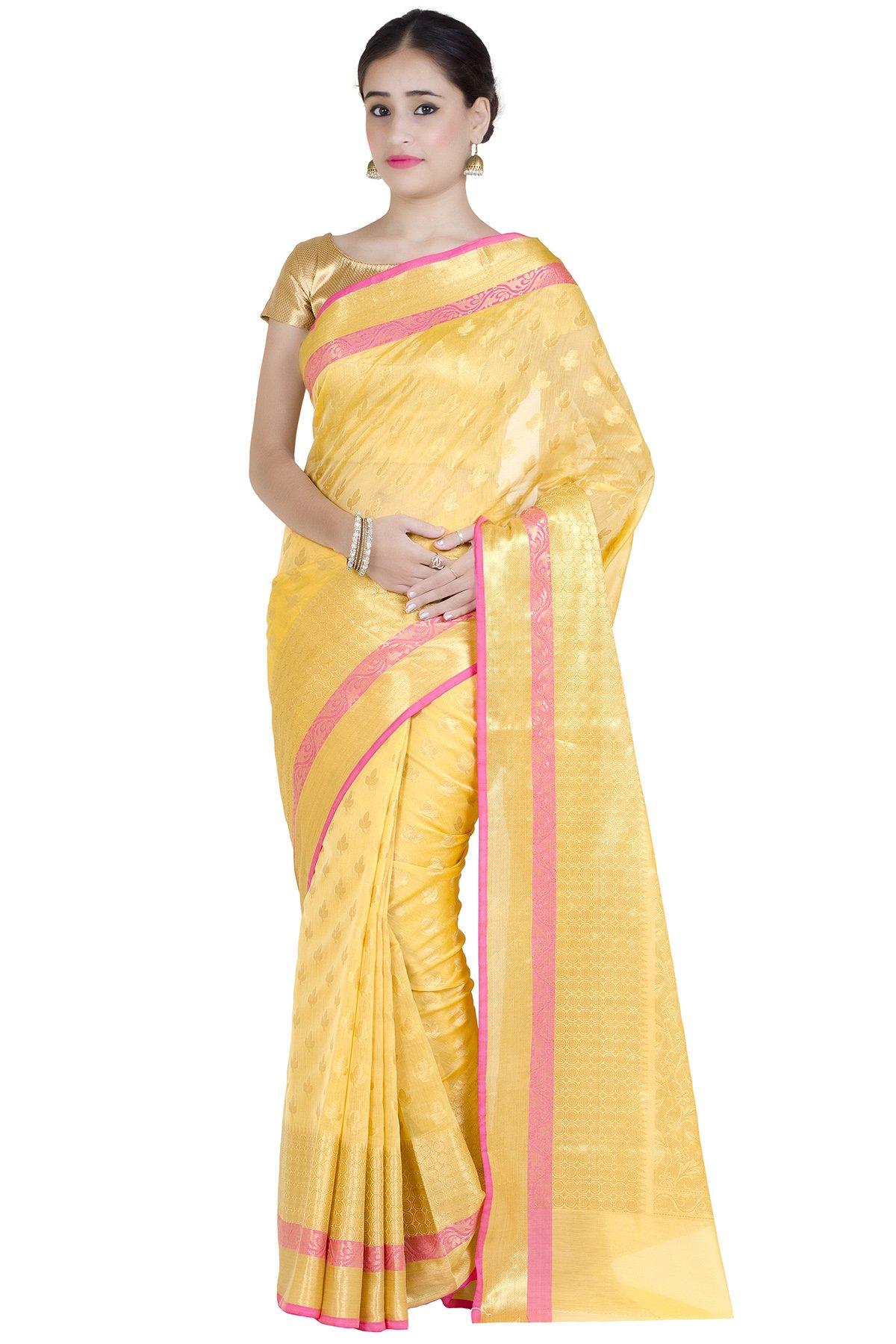 Chandrakala Women's Gold Cotton Silk Banarasi Saree