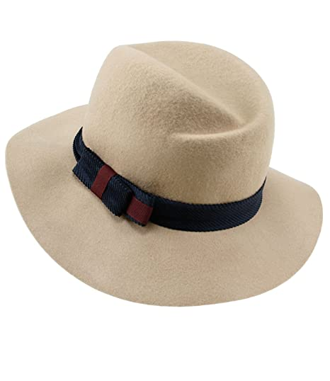 EveryHead Fiebig Ladies Felt Hat Wool Fashion Panama Autumn Winter One-Tone  with Bow for b87f6a85ede7