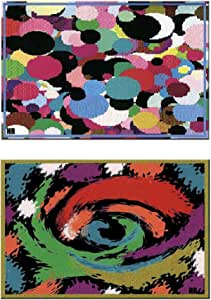Murals of decorative composition of big dots & waves, 2 pieces, Printed, hand-crafted.