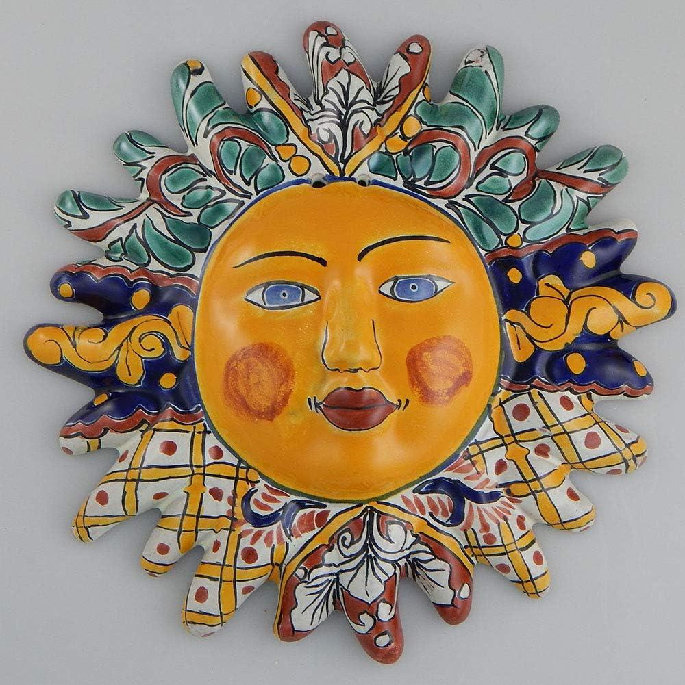 Mexican Talavera Ceramic Sun Face Wall Decor Hanging Pottery Folk Art # 07