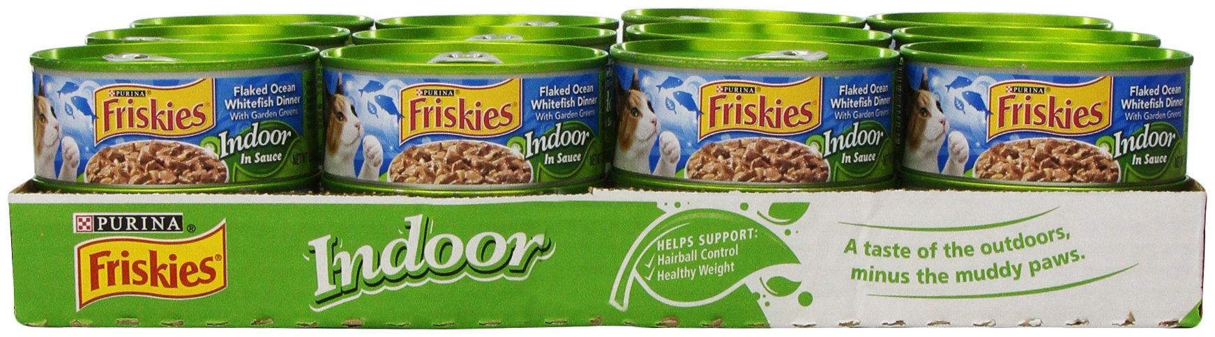 Purina Friskies Indoor Flaked Ocean Whitefish Dinner with Garden Greens in Sauce Cat Food - (24) 5.5 oz. Pull-top Can