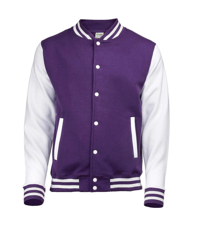 AWDis Unisex Varsity Jacket Small Purple / White